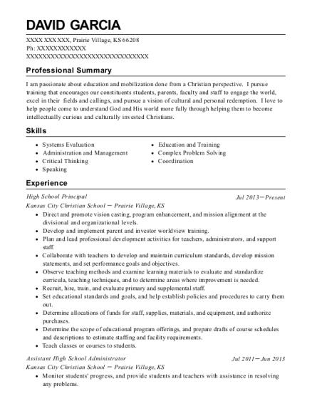 David Garcia  School Administrator Resume