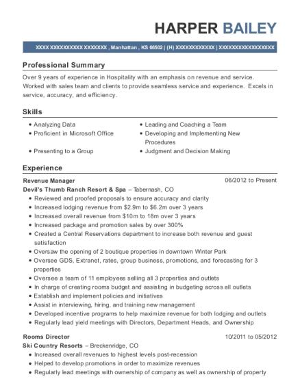 View Resume Revenue Manager Manhattan Kansas
