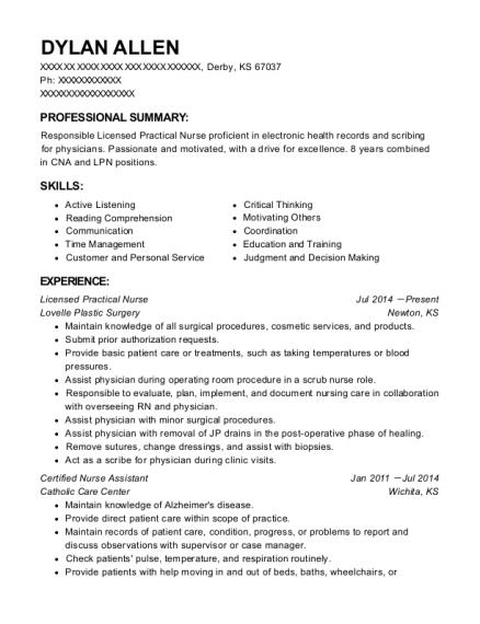 best licensed practical nurse resumes in kansas resumehelp