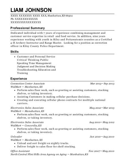 liam johnson - Walmart Resume