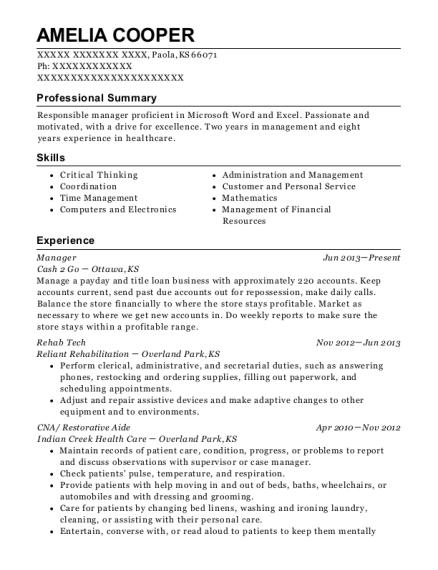 Best Cna/ Restorative Aide Resumes   ResumeHelp