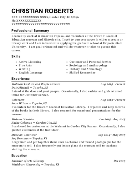 Museum resume