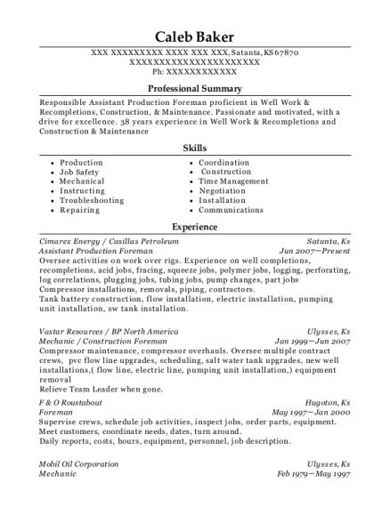 Cimarex Energy Assistant Production Foreman Resume Sample - Satanta ...