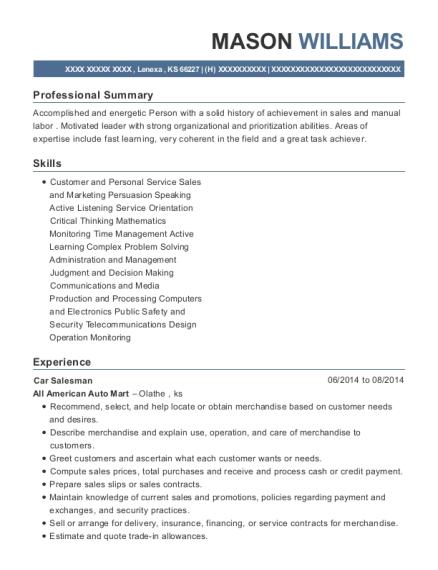 View Resume. Car Salesman