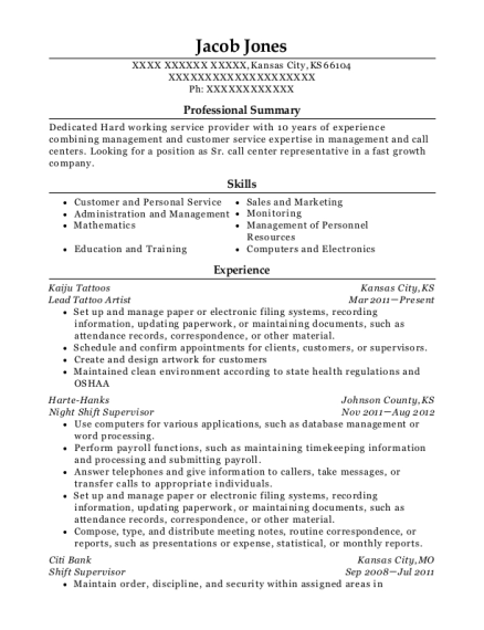 View Resume Lead Tattoo Artist