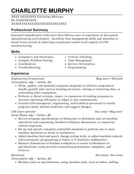charlotte murphy - Cnc Laser Operator Sample Resume