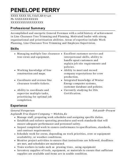 Asplundh Tree Expert Company General Foreperson Resume Sample ...