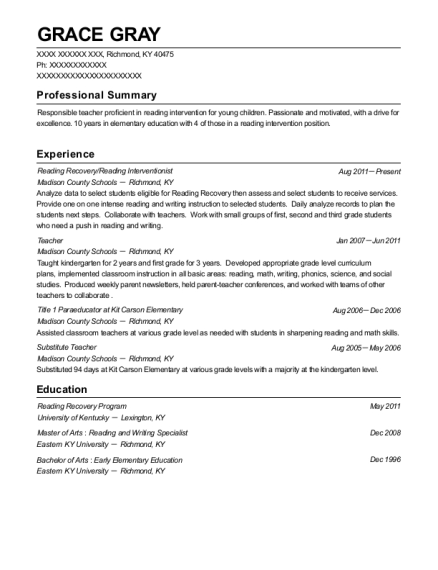 Lincoln Public Schools Reading Recovery Resume Sample Lincoln