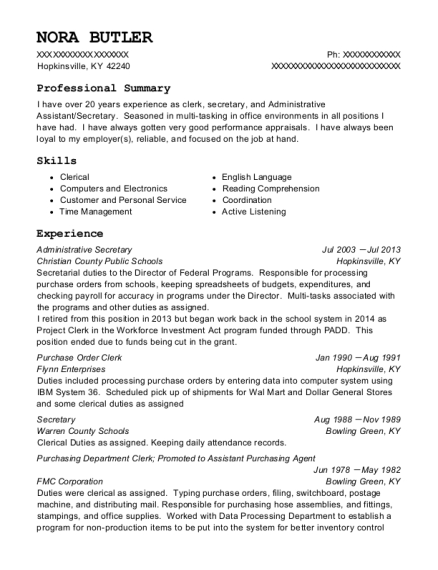 nora butler - Purchasing Agent Resume