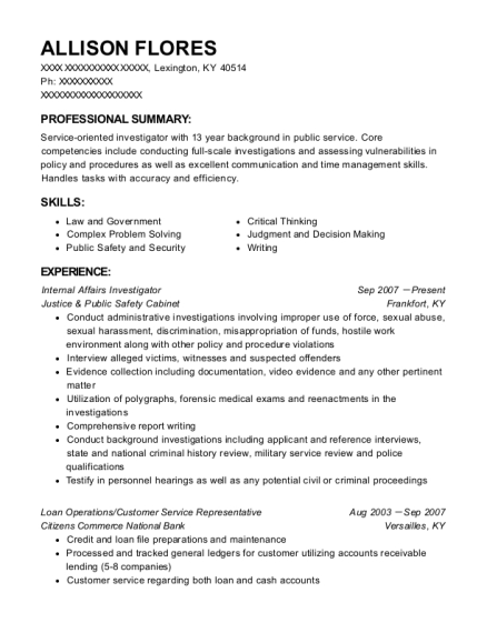 best internal affairs investigator resumes resumehelp
