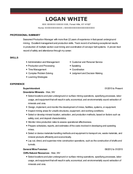 Abby Contracting Shift Foreman Resume Sample - Pounding Mill ...