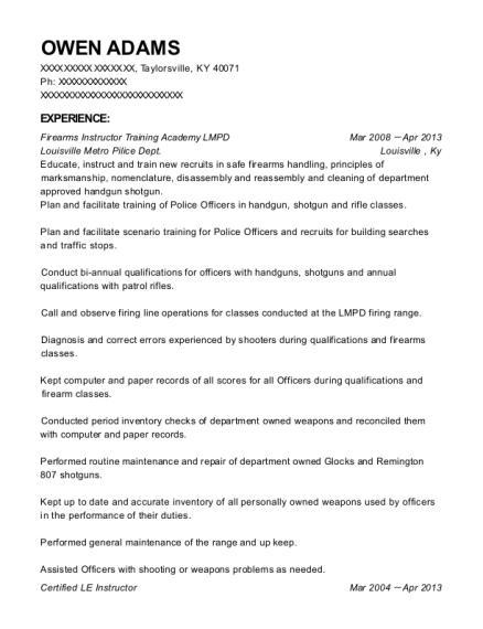 Best Firearms Instructor Training Academy Lmpd Resumes | ResumeHelp