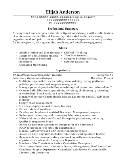 Snap Perfect Laboratory Operations Manager Resume Inspiration Resume ...