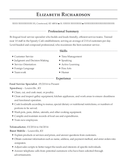 Food Service Specialist Specimen Accessioner Customize Resume View