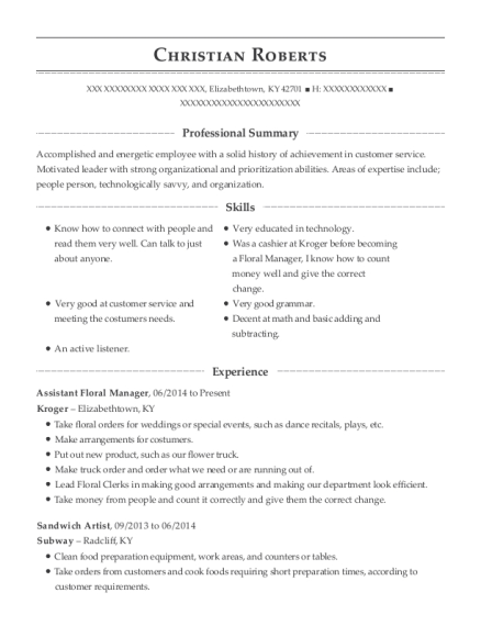 view resume assistant floral manager