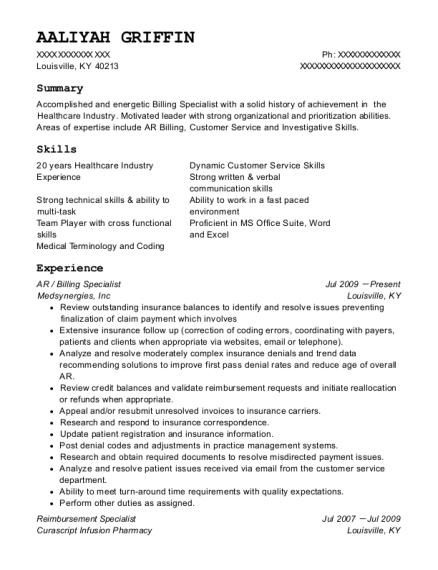 view resume ar billing specialist - Billing Specialist Resume