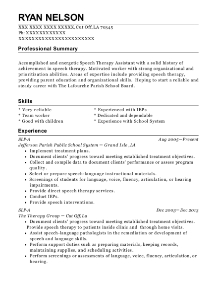 jefferson parish public school system slp a resume sample cut off