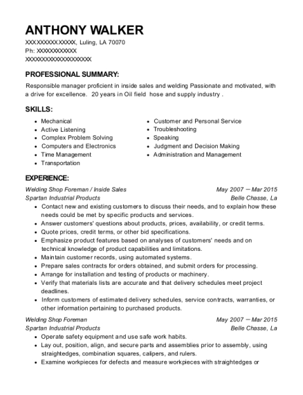 catamount oilfield services shop foreman resume sample