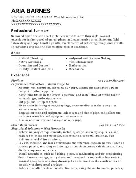 Maintenance , Sheet Metal Worker. Customize Resume · View Resume