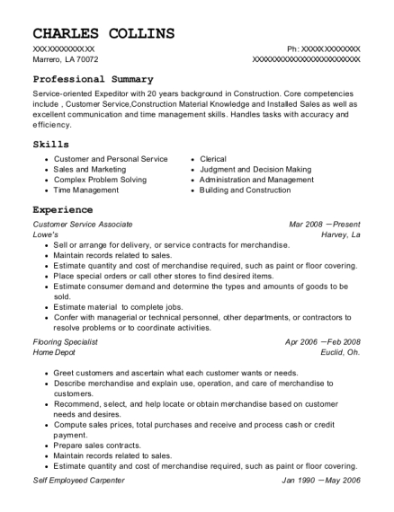 Home Depot Flooring Specialist Resume Sample Wichita
