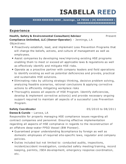 View Resume. Health, Safety U0026 Environmental Consultant/Advisor