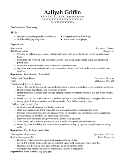 best roustabout resumes