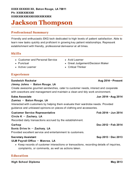 jimmy johns sandwich rockstar resume sample baton rouge louisiana