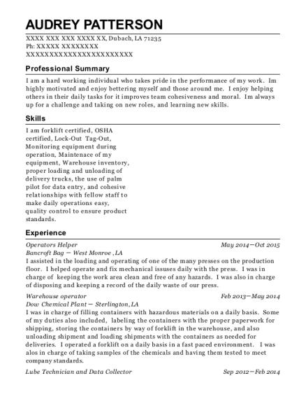 onboard operator helper resume sample