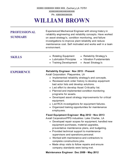 axiall corporation reliability engineer resume sample zachary
