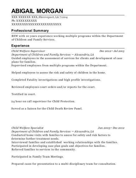 View Resume. Child Welfare Supervisor