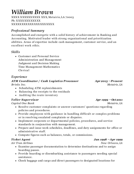 Best Atm Coordinator Resumes | ResumeHelp