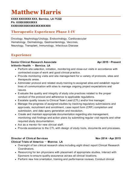 Matthew Harris  Clinical Research Resume