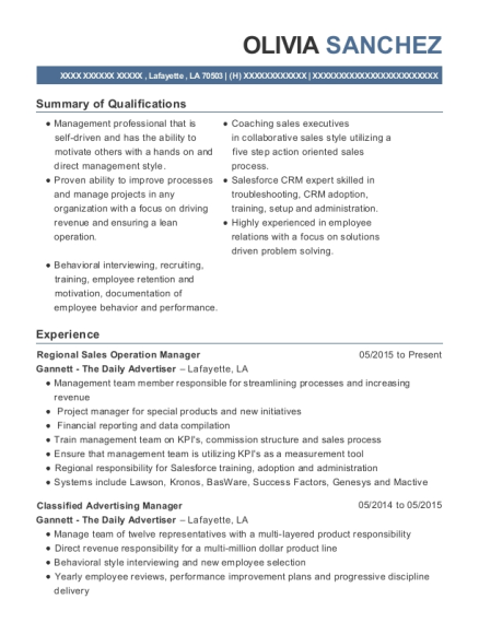 View Resume Regional Sales Operation Manager