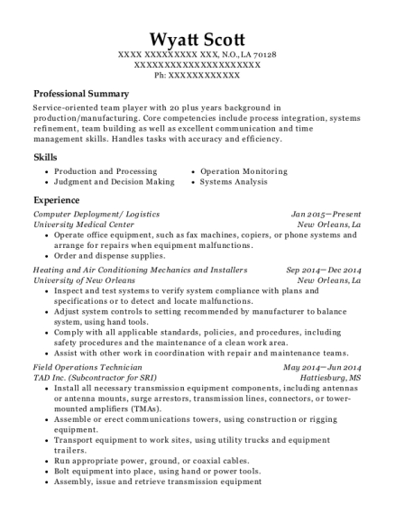 Field Operations Technician , Operations Specialist. Customize Resume ·  View Resume