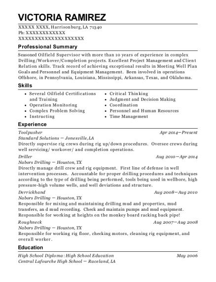 best toolpusher resumes resumehelp