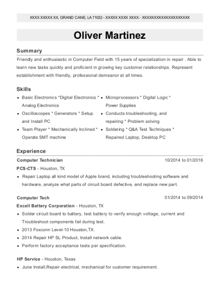 View Resume Computer Technician