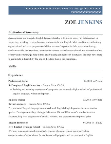 Best English Trainer Resumes Resumehelp