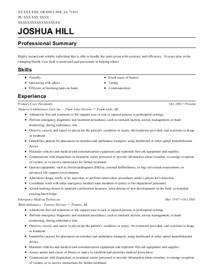 best primary care paramedic resumes resumehelp