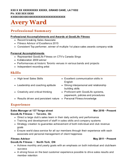 best fitness advisor resumes resumehelp