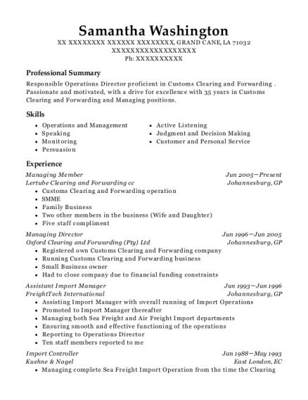 Best Assistant Import Manager Resumes | ResumeHelp