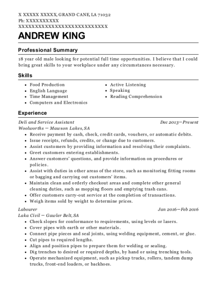 woolworths deli and service assistant resume sample