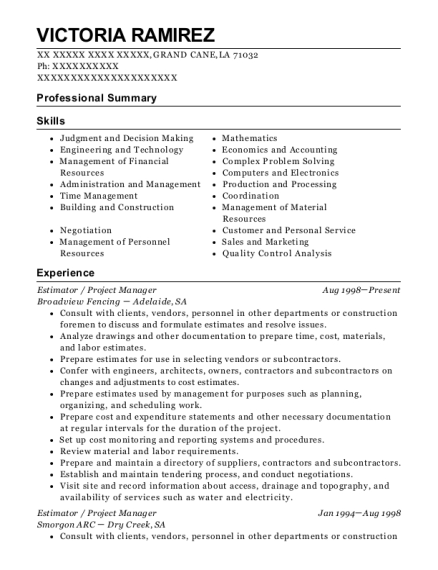 best estimator    project manager resumes