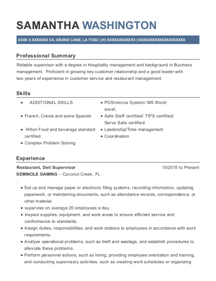 Exceptional View Resume. Restaurant, Deli Supervisor