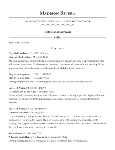 Woolworths Limited Nightfall Assistant Resume Sample - Grand Cane ...