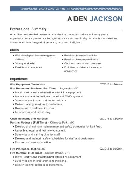 Fire Protection Technician , Fire Technician. Customize Resume · View Resume