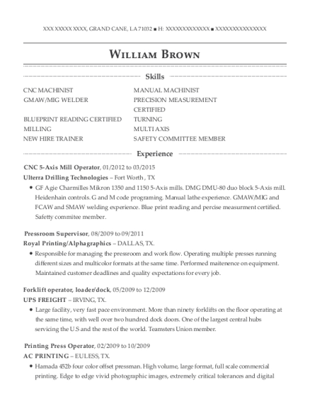 Ulterra drilling technologies cnc 5 axis mill operator resume sample view resume malvernweather Gallery