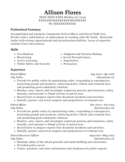 View Resume. Patrol Officer