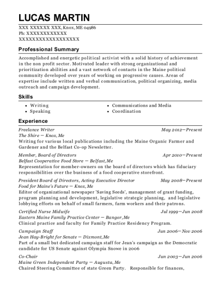 lucas martin - Certified Nurse Midwife Resume