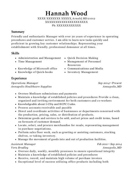 walmart assistant manager resume sample