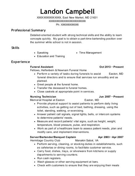 landon campbell - Server Bartender Resume